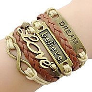 leather Charm Bracelets Classic Bronze LOVE Leather Wrap Bracelet(1 Pc) inspirational bracelets Jewelry