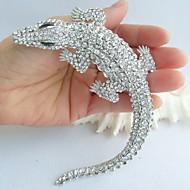 kvinder tilbehør sølv-tone klar rhinestone krystal alligator krokodille broche art deco krystal broche kvinder smykker