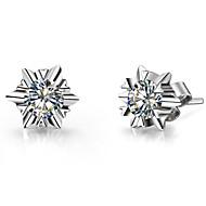 1Carat/Piece Snowflake Stud Earrings for Wedding Sterling Silver SONA Simulate Diamond Stud Earrings Engagement Jewelry