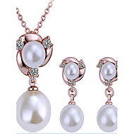 May Polly Mosaic Czech drill 18K Pearl Necklace Earrings Set