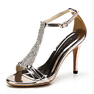 Women's Shoes Leather Stiletto Heel Heels/Peep Toe Sandals Office & Career/Party & Evening/Dress Black/Silver/Champagne