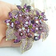 Women Accessories Gold-tone Purple Rhinestone Crystal Flower Brooch Bouquet Art Deco Women Jewelry