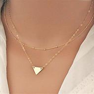 Women's Simple Fashion Metal Triangle Pendant Double Necklace