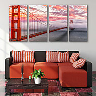E-HOME® Stretched Canvas Art Red Bridge Decoration Painting  Set of 4