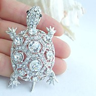 Women Accessories Silver-tone Clear Rhinestone Crystal Turtle Tortoise Brooch Art Deco Crystal Brooch