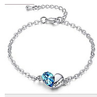 Women's Sterling Silver Heart Love With Rhinestone Bracelet