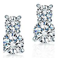 Women's  Pear-Shaped Sterling Silver Stud Earrings With Cubic Zirconia