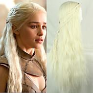 ragazza lungo PureColor Daenerys Targaryen luce riccioli d'oro cosplay 28inch fibra temperatura parrucche sintetiche dei capelli