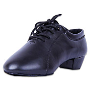 Non Customizable Men's Dance Shoes Dance Sneakers Patent Leather Low Heel Black