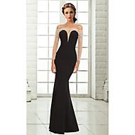 Formal Evening Dress - Black Plus Sizes / Petite Trumpet/Mermaid Off-the-shoulder Floor-length Chiffon