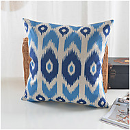 Modern Style Blue Geometric Pattern Cotton/Linen Decorative Pillow Cover