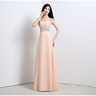 Formal Evening Dress A-line Straps Floor-length Chiffon with