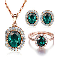 Sieraden set Kristal imitatie Emerald Kristal Kubieke Zirkonia imitatie Diamond Legering Bruiloft Feest Dagelijks Causaal 1 SetKettingen