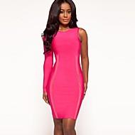 Cocktail Party Dress Sheath/Long Sleeve One Shoulder Notched Knee-length Spandex/Nylon/Rayon Taffeta Bandage Dress