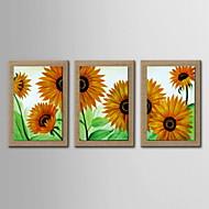 peinture à l'huile de tournesol abstrait décoration peinte à la main lin naturel avec la main tendue encadrée - ensemble de 3