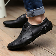 Men's Shoes Leather Spring Summer Fall Winter Comfort Oxfords Lace-up For Casual Black Brown