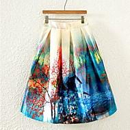 Women's Print Multi-color Skirts , Beach/Print Knee-length