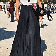 Women's Casual Maxi Inelastic Translucent Maxi Skirts (Chiffon)