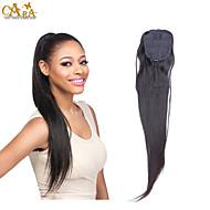 Черный Человеческие волосы Хвостик Прямые Хвостик грамм Средний (90г-120г) Количество