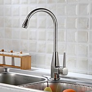 Modern Pull-out / pull-down Inbouw Roteerbaar with  Keramische ventiel Single Handle Een Hole for  Geborsteld , Keuken Kraan