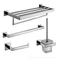 Stainless Steel Bath Hardware Set with Towel Shelf with Bar Single Towel Bar Toilet Paper Holder and Toilet Brush Holder