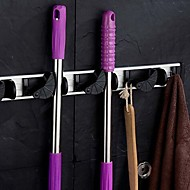 Aluminum and Plastic Wall Mounted Organizer and Storage Mop Broom Holder Tool