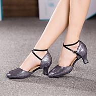 Non Customizable Women's Dance Shoes Modern Paillette Cuban Heel More Colors