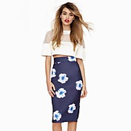 Women's High Waist Split Hem Floral Printed Bodycon Skirts