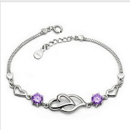 Women's Telesthesia Silver Chain With Rhinestone Bracelet