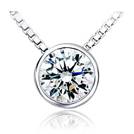 0.5CT SONA Excellent Round Slide Pendant Simulate Diamond Silver Necklace Wedding Pendant for Women 18K White Gold Plate