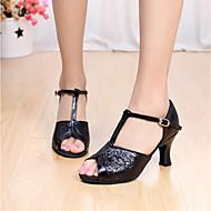 Sapatos de Dança ( Preto/Castanho/Vermelho/Prateado/Dourado ) - Mulheres - Customizáveis - Latim/Sapatilhas de Dança