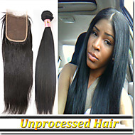 """4Pcs/Lot 8""""-30""""Brazilian Hair Extension With Lace Closure Straight"""