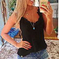 Vrouwen Eenvoudig T-shirt,Casual/Dagelijks Effen V-hals Mouwloos Beige / Zwart Katoen / Polyester Medium