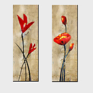 2 세트 - 뻗어 액자와 유화 장식 추상 꽃 손으로 그린 캔버스