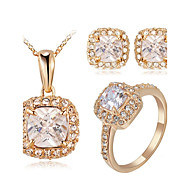 T&C Women's Classic 18K Rose Gold Plated Princess Cut Square Cubic Zirconia Ring Necklace and Earrings Jewelry Set