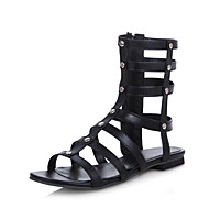 Women's Shoes  Flat Heel Fashion Boots / Gladiator / Open Toe Sandals Outdoor Black / White