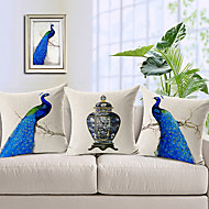 Set of 3 Modern Blue Peacock Patterned Cotton/Linen Decorative Pillow Covers