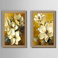 pittura a olio decorazione floreale a mano tela dipinta con allungato incorniciato - set di 2