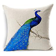 pavão azul modelado algodão / linho cover decorativo travesseiro