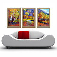 живопись маслом украшения абстрактный пейзаж ручной росписью естественный белье с растянутыми оформлена - набор из 3
