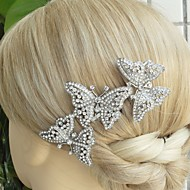 Wedding Silver-tone Clear Rhinestone Crystal Butterfly Hair Comb Bridal Headpiece Wedding Hair Comb