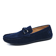 Men's Summer / Fall Comfort / Round Toe Leather Office & Career / Casual Slip-on Black / Blue / Red / Gray