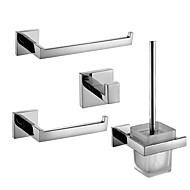 Polish Stainless Steel Bathroom Accessories Set with Towel Ring Toilet Paper Holder Toilet Brush Holder and Robe Hook