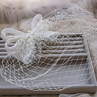 Fashion White With Pearl And Veil Bowknot Style With Comb Wedding Or Party Headpiece B0723I