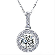 1CT Awesome Pendant Solid Silver Necklace Slide Style SONA Simulate Diamond Pendant Round Female 18K White Gold Plated