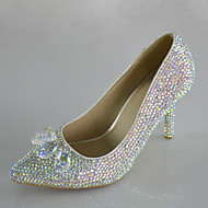 """Leather 3.35"""" Heels,  Symphony Crystals Pumps/Heels Wedding/Office & Career/Party & Evening/Dress White"""