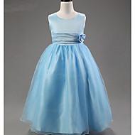 A-line Ankle-length Flower Girl Dress - Satin / Tulle / Polyester Sleeveless