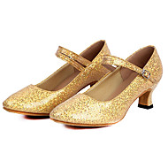 Women's Dance Shoes Latin Sparkling Glitter/Paillette Low Heel Blue/Pink/Red/Silver/Gold
