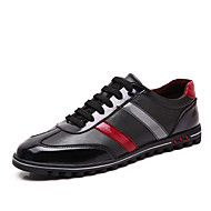 Men's Spring Summer Fall Winter Leather Outdoor Flat Heel Lace-up Black