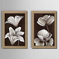 Ölgemälde Dekoration Blume Hand bemalt Naturleinen mit gestreckten gerahmt - Satz von 2